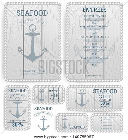 Seafood restaurant menu template. Anchor on the wooden board. White rope. Branding. Business card, flyer, vip card and gift voucher. Vector design.
