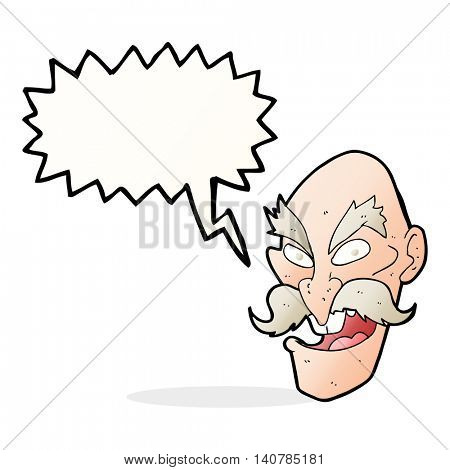 cartoon evil old man face with thought bubble