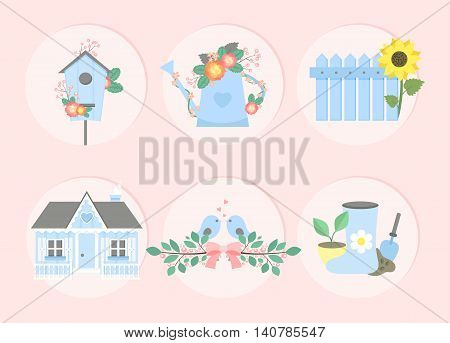 Garden set. Nesting box watering can with flowers fence with sunflower country house branches with birds garden tools rubber boots. Vector illustration