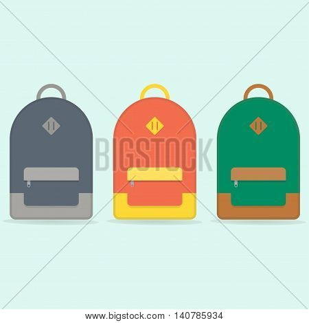 Street backpack. School backpack. Red, blue, green backpack isolated on blue background. Backpack set