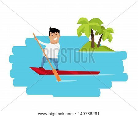 Leisure in tropics vector illustration. Flat design. Summer vacation in exotic countries concept for ad, web design. Escape from civilization. Man on boat sailing in ocean with island on background.