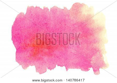 Bright Watercolor spot - Abstract hand drawn template with rough edges. PValentines day watercolour texture. Pink color