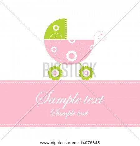 Cartão do anúncio da chegada de bebê menina