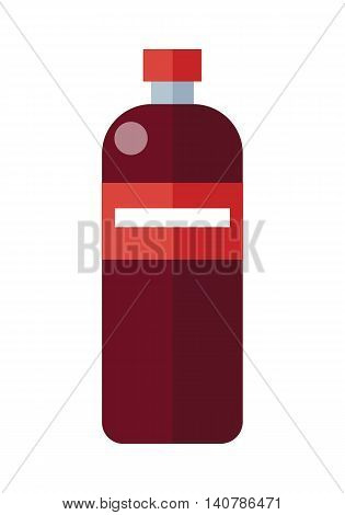 Red plastic bottle with label. Bottle of mineral water. Plastic bottle icon. Retail store element. Simple drawing. Isolated vector illustration on white background.