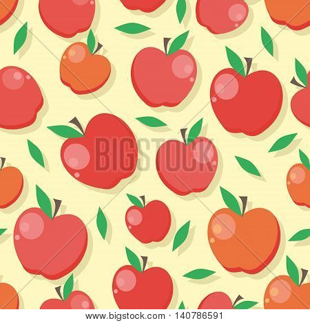 Apple seamless pattern. Ripe red apple. Apple with leaves. Juicy fresh apple. Healthy food element. Vector illustration. Seamless pattern on white background.