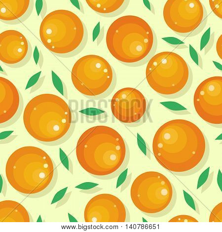 Orange fruit seamless pattern. Ripe orange. Orange with leaves. Juicy fresh orange. Tropical fruit. Healthy food element. Vector illustration on white background.