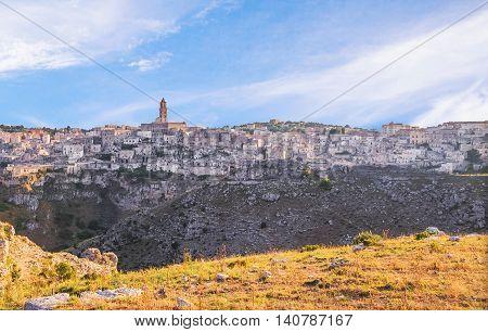 Panoramic view of sassi di Materabasilicata Italy. UNESCO European Capital of Culture 2019 under blue sky