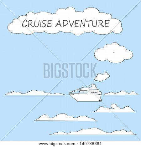 Cruise ship in sea flat style vector illustration. Cruiseliner icon with cartoon style steam clouds and waves. Summer travel card or banner background. Square image with sea transport and text place