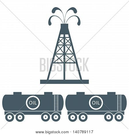 Stylized Icon Of The Equipment For Oil Production And Tanks With Oil