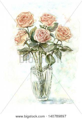 Watercolor bouquet of cream roses in vase