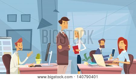 Business People Office Desk Workplace Businesspeople Working Vector Illustration
