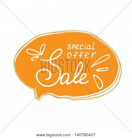 Super sale lettering with handwritten frame. Sketch style. Can use for poster or label shop and market. Vector illustration.