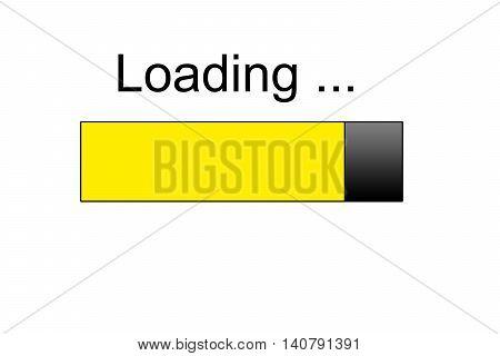 yellow loading bar icon, internet concept design