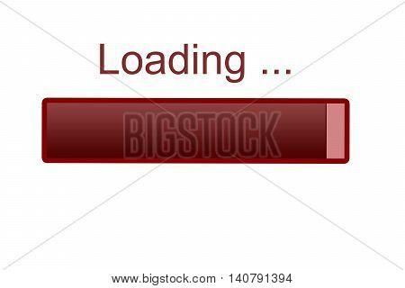 Loading bar icon, red grunge icon bar