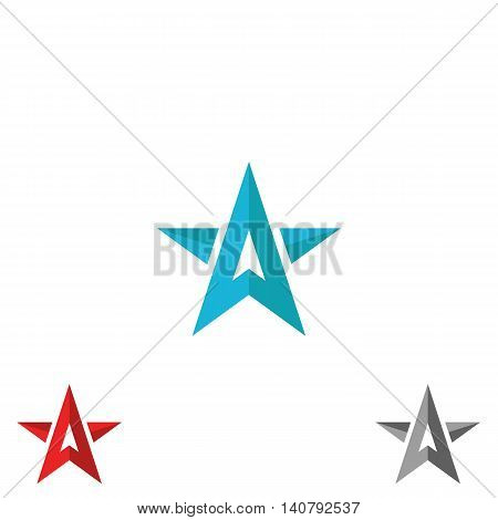 Logo Star Form Upward Arrows, Creative Shape Letter A, Concept Diraction Sign, Symbol Leader