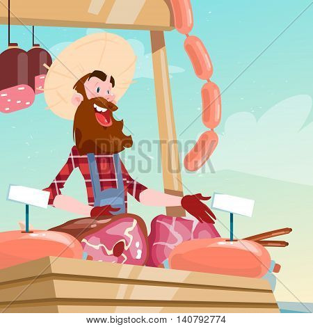 Farmer Sell Pork Meat Products On Eco Farm Organic Market Flat Vector Illustration