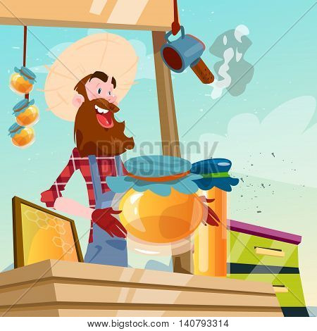 Farmer Apiary Sell Honey On Farm Eco Organic Market Flat Vector Illustration