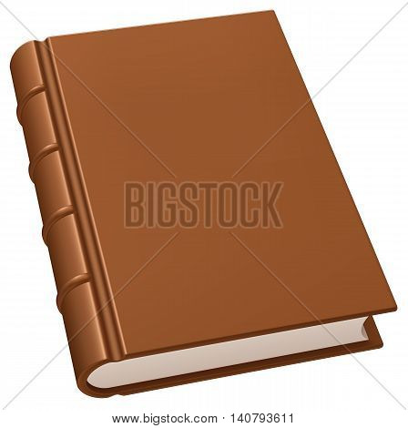Old leather brown book isolated on white
