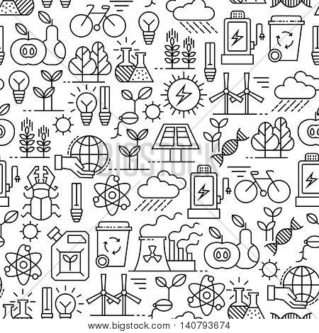 seamless pattern with line ecology icons