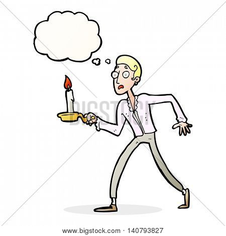 cartoon frightened man walking with candlestick with thought bubble