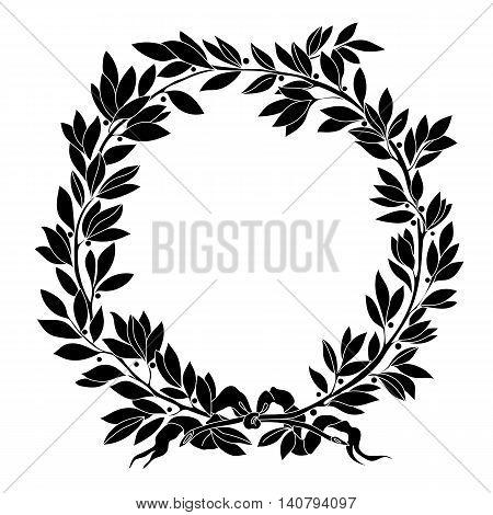 Vintage floral wreath. Decorative floral wreath,  round wreath, plant wreath, laurel wreath, sketch wreath, garland wreath, prize wreath, medal wreath. Vector.