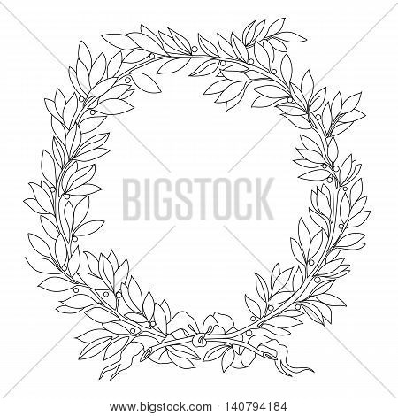 Vintage floral wreath. Decorative floral wreath,  round wreath, plant wreath, laurel wreath, sketch wreath, garland wreath, prize wreath, medal wreath. Vector.