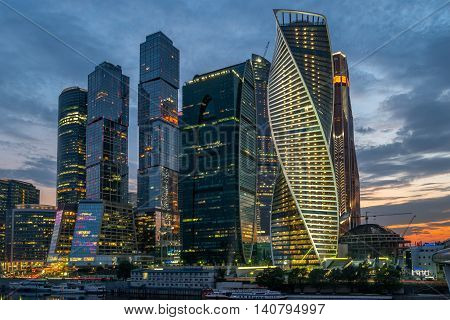 Moscow. Russia - jly 3, 2016 Moscow city Moscow International Business Center at night, Russia