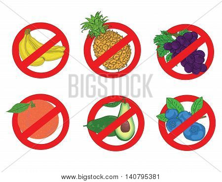 sign ban on fruit: banana, pineapple, grapes, oranges, blueberries, avocados. vector illustration