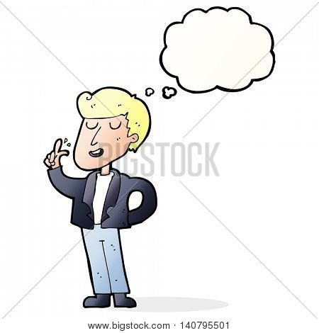 cartoon cool guy snapping fingers with thought bubble