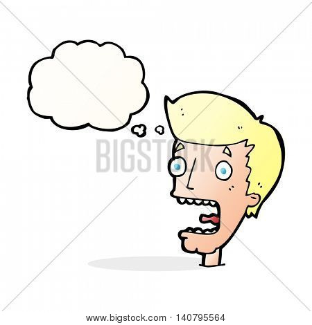 cartoon terrified man with thought bubble