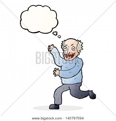 cartoon evil old man with thought bubble