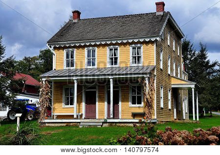 Lancaster Pennsylvania - October 14 2015: The Isaac Landis House circa 1870's at the Landis Valley Village and House Museum *