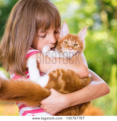 Beautiful little girl holding cute red Maine Coon kitten
