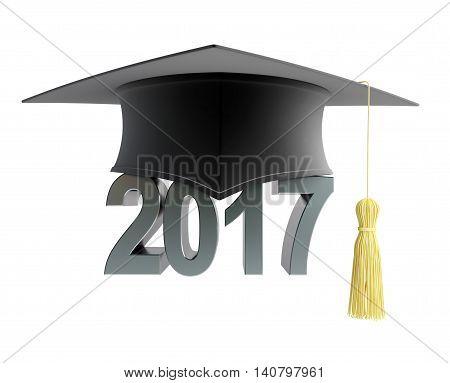 2017 text with graduation hat. 3d Illustrations