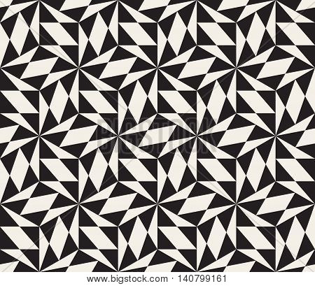 Vector Seamless Black And White Triangle Lattice Geometric Pattern