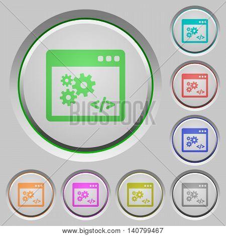 Set of color API sunk push buttons.