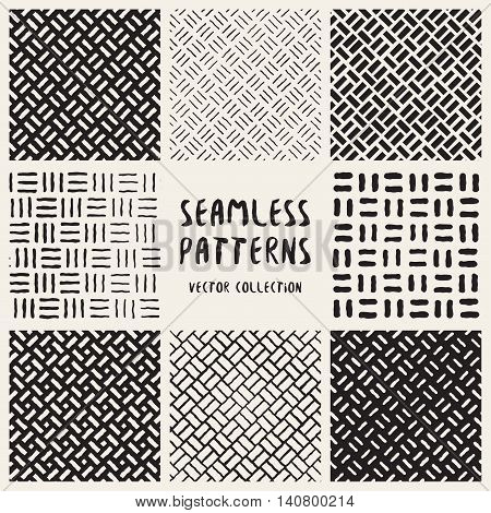 Set Of Eight Seamless Black And White Hand Drawn Diagonal Lines Geometric Patterns Collection