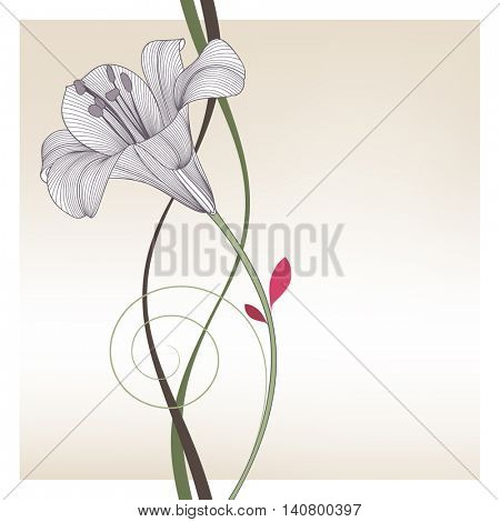 Beautiful abstract floral background with hand-drawn flower lily. Vector illustration. Element for design.