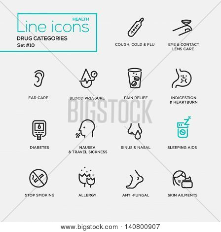 Drugs categories - modern vector plain simple thin line design icons and pictograms set. Cough, flu, eyes, ear care, blood pressure, pain relief, indigestion, diabetes, nausea, nasal, sleeping aids