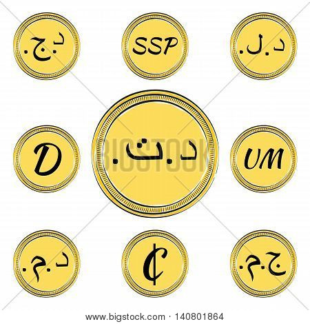 Set of Coins with Symbols of 9 Northern and Western Africa Currencies. Hand Drawn Coins. Vector EPS 10