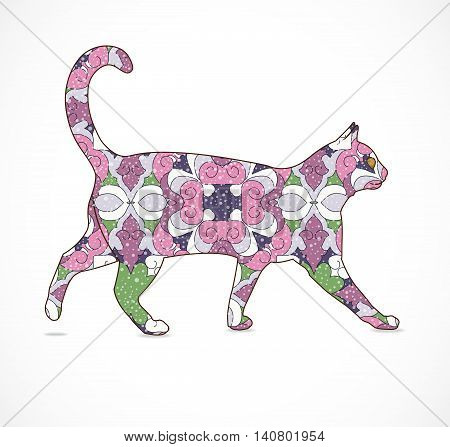 Vector illustration with abstract colorful cat. Illustration 10 version.