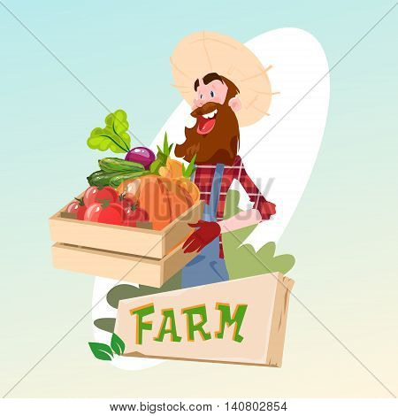 Farmer Hold Box With Vegetables Farming Logo Concept Flat Vector Illustration