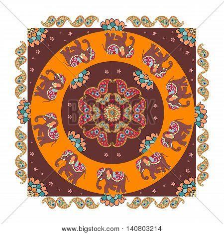 India. Ethnic bandana print with beautiful flowers, paisley and elephants. Summer kerchief square pattern design style for print on fabric. Mandala.