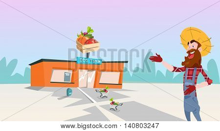 Farmer Point Hand to Eco Organic Farm Market Flat Vector Illustration