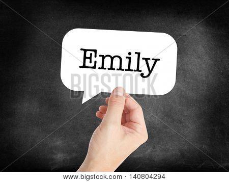 Emily written in a speechbubble