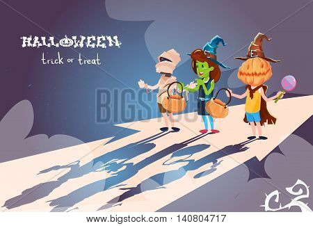Happy Halloween Banner Chilren Ib Costumes Party Invitation Banner Flat Vector Illustration