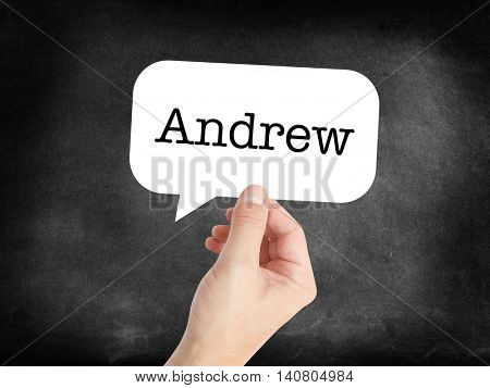 Andrew written in a speechbubble