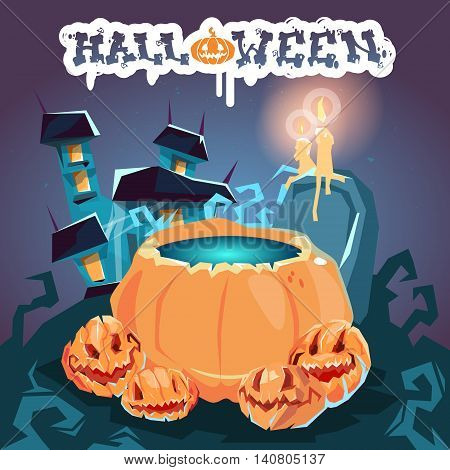 Halloween House With Boiling Potion Pumpkin Face Party Invitation Card Flat Vector Illustration