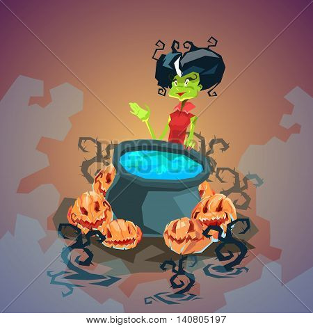 Happy Halloween Banner Invitation Card Witch Boiling Potion Flat Vector Illustration