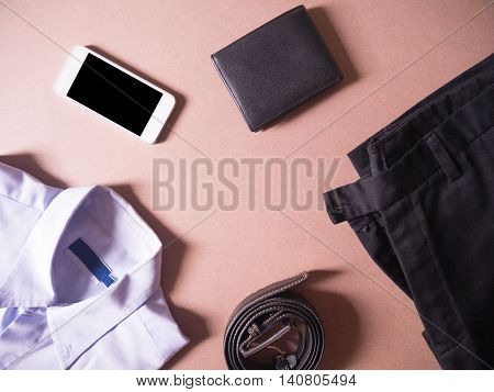 business clothes set of smart phonebalck wallet and balck belt in concept new employees